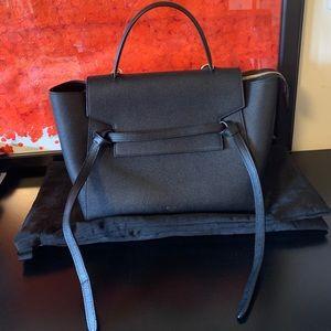 Celine mini belt bag in black Grain leather